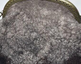 Brown wet felted purse clutch in Australian Merino wool felt with hand dyed silk detail 11621