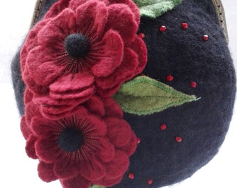Wool felted purse, evening bag with flowers and bead detail, 120 cm chain in merino wool 11423