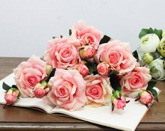 5 pcs Silk Artificial Rose,Flowers for Bridemaid Bouquet Supplies,Wedding Centerpieces Supplies,Arrangement Decorations(165-3)