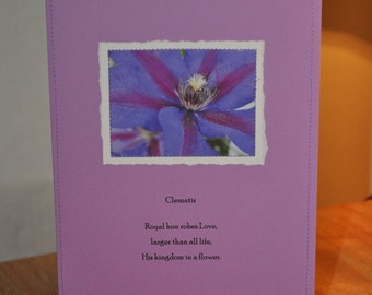 clematis Paper Stitches notecard