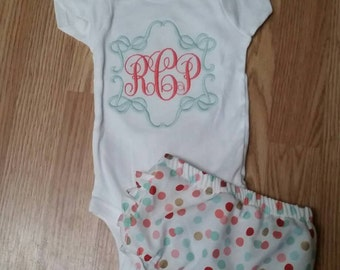 Monogrammed onesis with ruffled bottom diaper cover