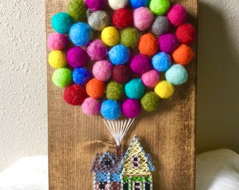 UP House String Art, Hot Air Balloon String Art