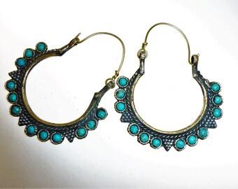 Afghani Tribal Hoop Earrings II, Vintage