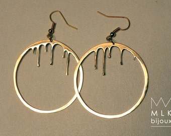 "Earrings ""round flowing"" brass on order, diameter 5 cm"