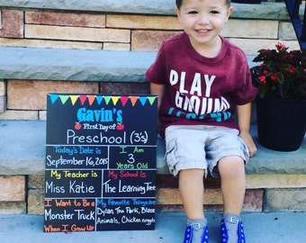 12x15 Reusable Back to School First Day of School Chalkboard