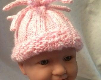 Hand Knit Baby Hat New Born/Preemie Girl
