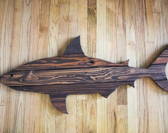 """Shark Pallet Wood Wall Decor- 48"""" (Stained)"""