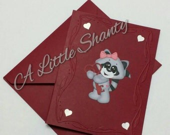 """Raccoon series/Valentine Raccoon with Heart Key Embossed A2 card(4.25""""x5.5"""")/Deep Red paper base/blank inside"""