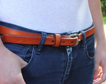 Skinny Tan Leather Belt 3/4""