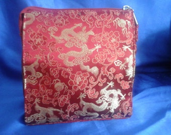 Chinese Embroidered Red Shoulderbag Chinese Dragons Design