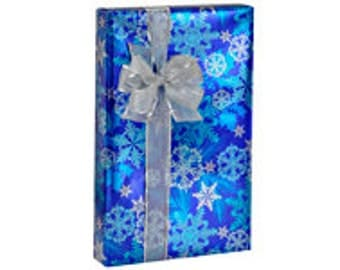 Metallic Snowflakes Blue Gift Wrap Wrapping Paper -15ft
