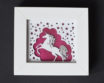 Framed Miniature Unicorn Paper Cut Print