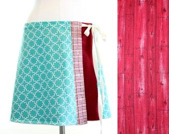 Red Midi Wrap Skirt- Summer Circle Dress Skirt- Cherry Blossom Midi Skirt- Circle Trellis Pattern A Line- Dress Skirt- Repurposed Upcycled