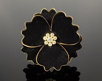 Made in Germany Flower Brooch - Vintage 1930s Germany, Black Velvet Pansy with Rhinestone Cluster Flower Pin