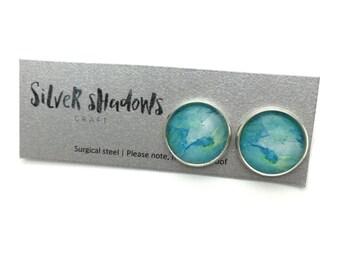 Light ocean 14mm watercolour glass tile stud earrings-surgical steel posts