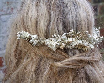 Boho Glam Dried Flower Half Hair Crown with Comb
