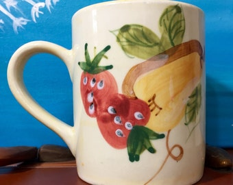Vintage Royal Notfolk Coffee Mug Cup with strawberries Grapes and Pear Design 4 inch 12 ounce