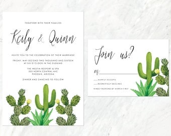 Cactus Wedding Invitation, Desert Wedding Invitation, Succulent Wedding Invite