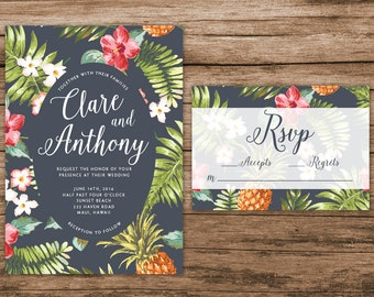 Hawaiian Wedding Invitation, Tropical Wedding Invitation, Palm Leaves Invitation