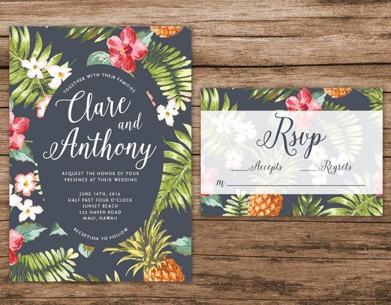 Hawaiian Wedding Invitation Tropical Wedding By