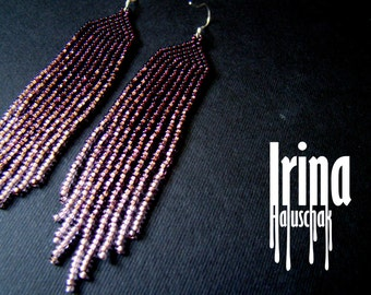 Beaded earrings, seed bead earrings, modern earrings, boho earrings, fringe earrings, beadwork, gradation earrings Chevron