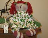 St Patrick's Day Doll - Raggedy Ann Doll - Spring Decoration