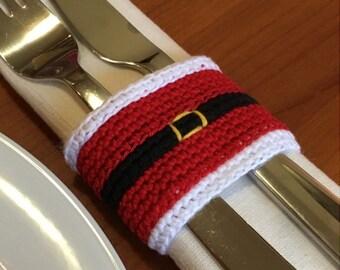 Christmas crochet pattern, Christmas napkin ring, Crochet Christmas, Christmas Santa crochet pattern, Christmas decoration