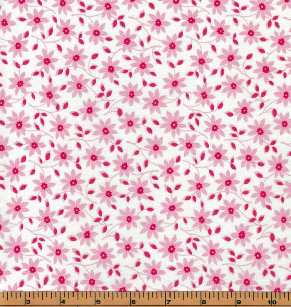 Lakehouse- Pink Flowers on White Background- Pam Kitty Garden ... : high quality quilting fabric - Adamdwight.com