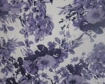 Lilac & White Floral Print Jersey Knit Fabric by the Yard Half Yard Purple/White Flower Print Rayon Jersey Apparel Fabric Viscose Spandex
