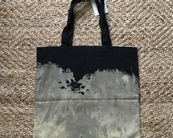 Black Rock Ombre Bleach Dyed Cotton Market Tote