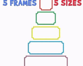 5 Frames Applique Machine  Embroidery Design, 5 Sizes, Basic Shape DIGITAL INSTANT DOWNLOAD 030