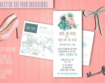 Party on the Patio! Succulent Party Invitations - QTY 20