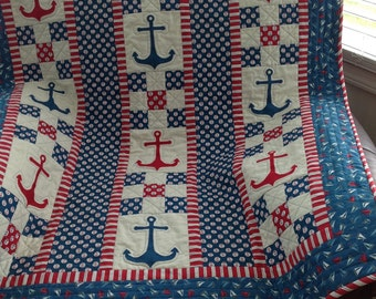 nautical quilt/ patriotic boy quilt