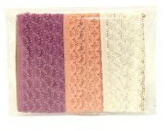 Knicker elastic pack white, powder pink and pale violet