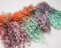 """Hand Dyed Teeswater Locks - 6 1/2 inches - """"Siren's Treasure"""" - 1 ounce Soft and Lustrous!"""