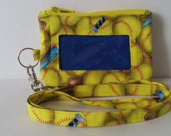 Softball Print Zippered Id Pouch with Lanyard