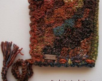 Bonnet - C2C Design in multi coloured Autumn Shades