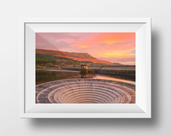 Ladybower Reservoir / Derbyshire / Fine Art / Sunset / Orange / Water / Rural / Peak District / Water / Calm / Still / Wall Art /