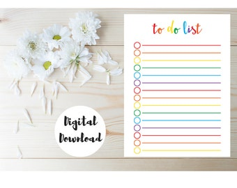 Day Planner PDF - Daily Schedule - Rainbow Planner Page - Daily To Do List - Daily Planner Pages - Daily Organizer - Day Planner Printable