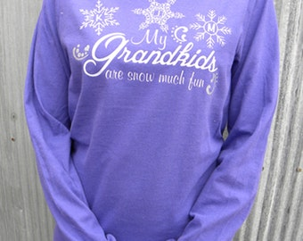 My Grand kids Are Snow Much Fun! Personalized Long Sleeved T-shirt For Grandma