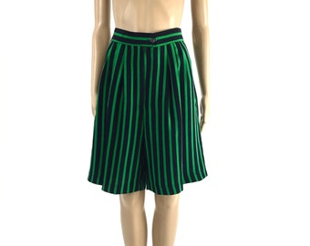 Vintage Green and Black Striped Shorts, Size Medium