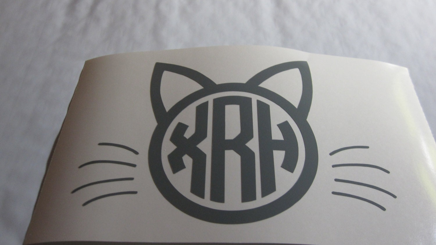 Cat Monogram Vinyl Decal Sticker Available In 24 Colors