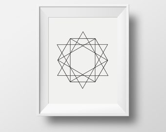 Wall art, black hexagone wall print, home wall print, black and white framed prints, framed ikea prints