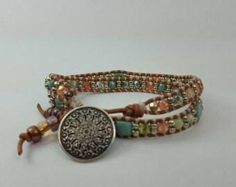 Leather southwest boho wrap bracelet