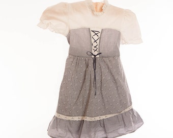 Blue and white childs dress, Age 4 - 5 years, summer dress, mock tie bodice, underskirt, ruffle trim, vintage dress, sash tie