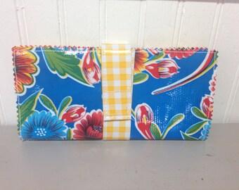 Cash Envelope Zippered Wallet - Dave Ramsey Budgeting {Royal Blue Blooms} - 2 Pockets
