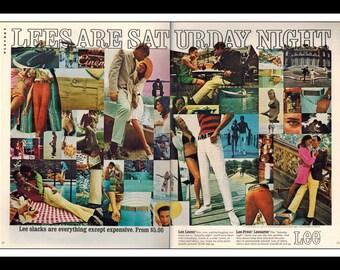 "Vintage Print Ad May 1969 : Lee Slacks Jeans Fashion Clothing 2 Page Spread Wall Art Decor 16"" x 11"" Advertisement"