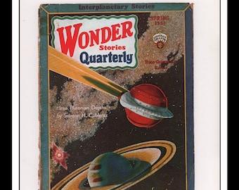 "Vintage Print Ad Sci Fi Cover : Wonder Stories Quarterly Spring 1931 Frank Paul Illustration Wall Art Decor 8.5"" x 11 3/4"""
