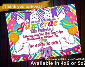Girls Roller Skate Birthday Party - Roller Skate Invitation - Roller Skate Invite - Printable