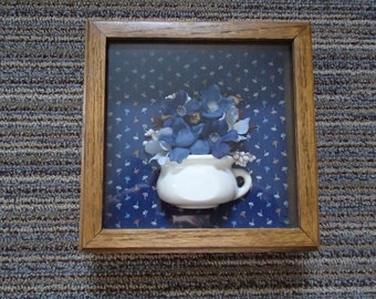 Shadow box wall decor flowers in container